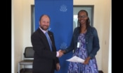 U.S. Embassy Kigali Political Officer Denis Test (left) and Indego Africa Country Director, Rosine Urujeni after the grant signing at the U.S. Embassy.