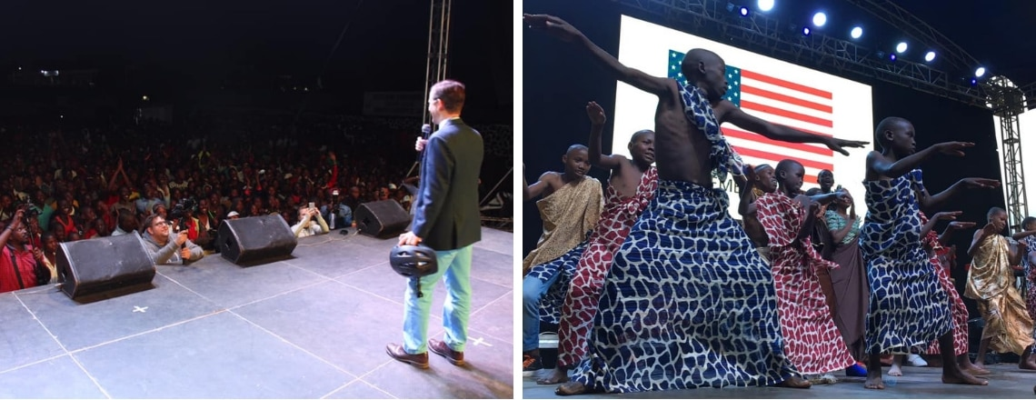 Ambassador Vrooman Promotes Health Messages at Tour du Rwanda Concert Series